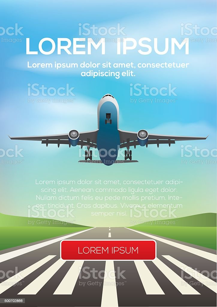 Airplane departing and landing vector art illustration