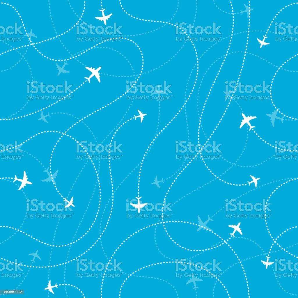 Airplane destinations seamless background. Adventure time concept Vector illustration Adventure stock vector
