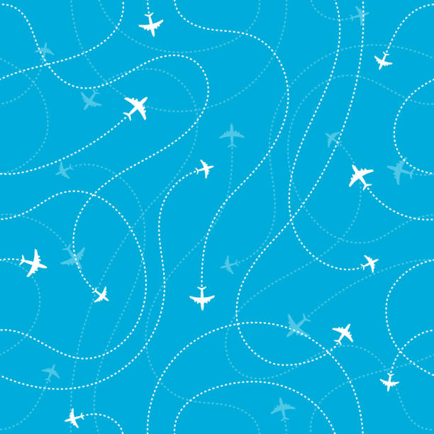 Airplane destinations seamless background. Adventure time concept Vector illustration airport patterns stock illustrations