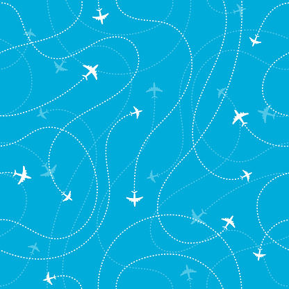 Airplane Destinations Seamless Background Adventure Time Concept Stock Illustration - Download Image Now
