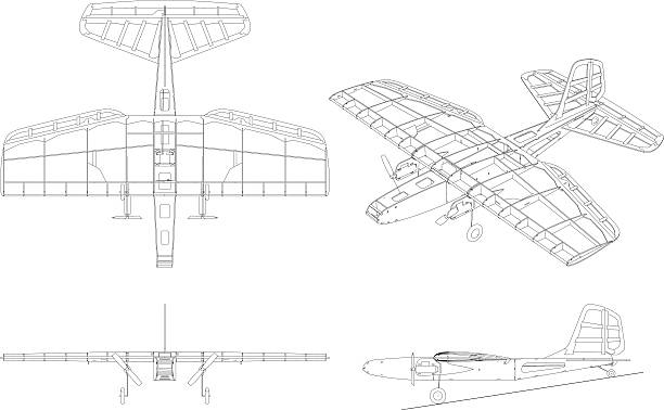 Royalty Free Airplane Blueprint Clip Art Vector Images