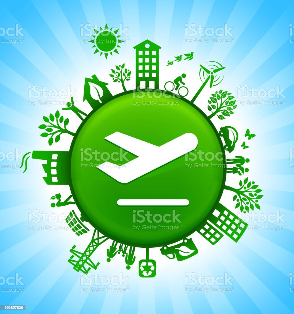 Airplane Environment Green Button Background on Blue Sky - Royalty-free Airplane stock vector