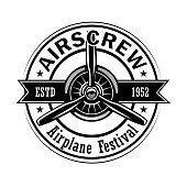 Airplane festival label design. Monochrome element with biplane or retro plane propeller vector illustration with text. Pilot training school concept for stamps and emblems templates