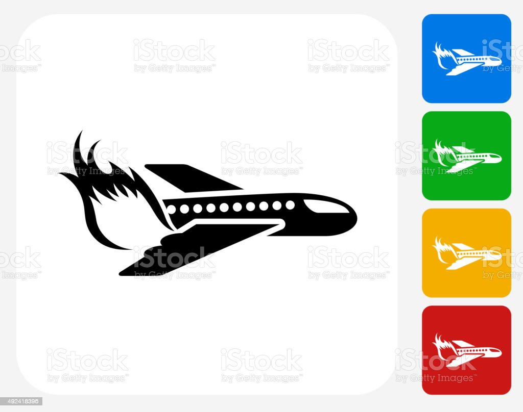 Airplane Fire Icon Flat Graphic Design Stock Vector Art & More ...