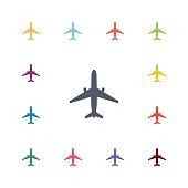 airplane flat icons set