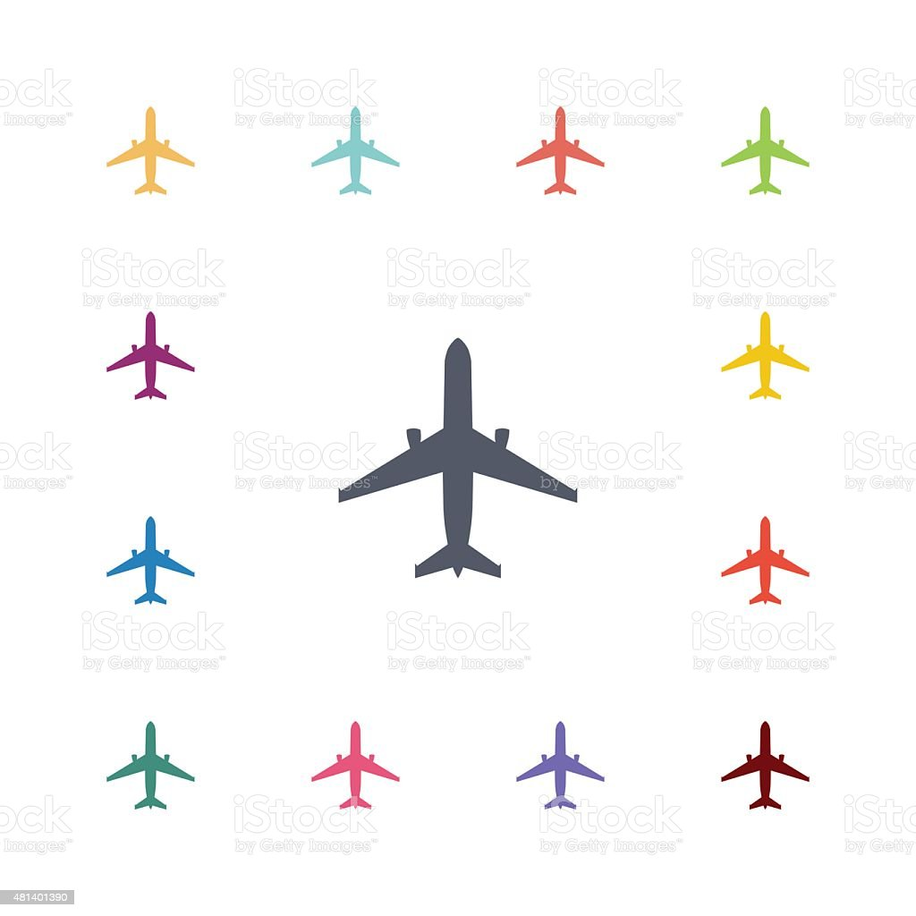 airplane flat icons set vector art illustration