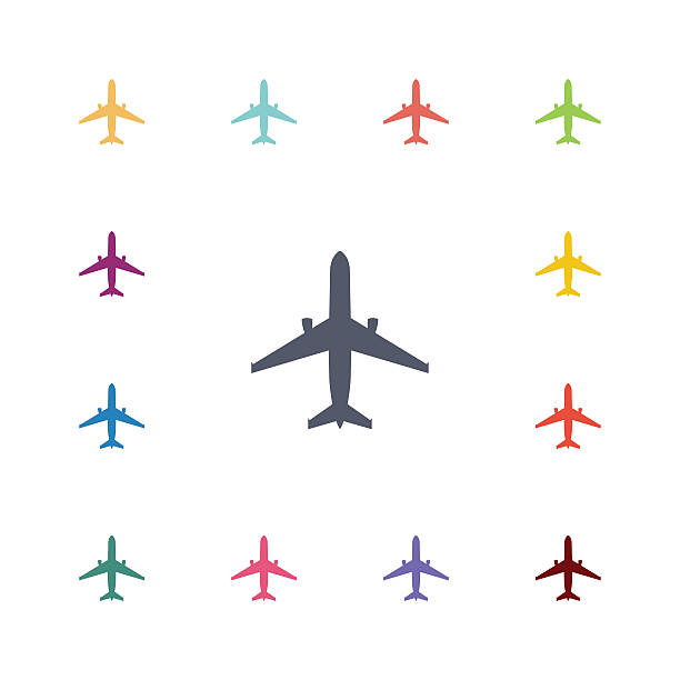 Avião plana, conjunto de ícones - ilustração de arte em vetor