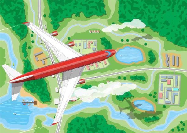 土地の上に飛行機が飛ぶ - 森林 俯瞰点のイラスト素材/クリップアート素材/マンガ素材/アイコン素材
