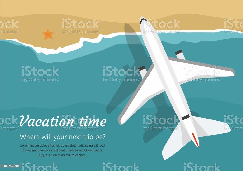 Uçak uçar bir deniz üzerinde yukarıdan görüntüleyin. Tatil vektör sanat illüstrasyonu