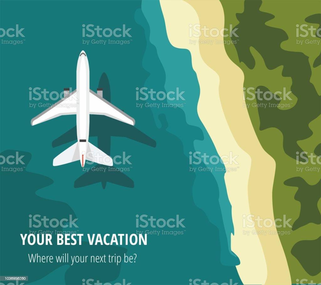 Uçak uçar bir deniz üzerinde görüntülemek yukarıdan vektör sanat illüstrasyonu