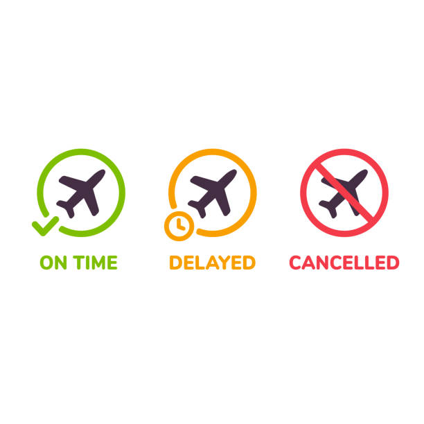 Airplane flight icon set Airport information icons. Flight status on time, delayed and cancelled. Isolated airplane illustration set. waiting stock illustrations