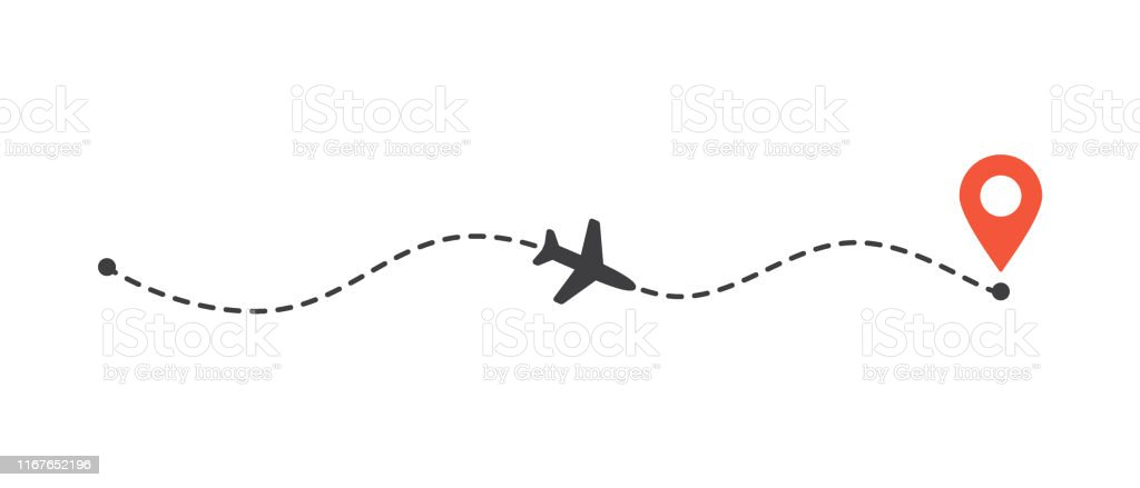 Airplane flight path to location mark. Plane route line. Tourism and...