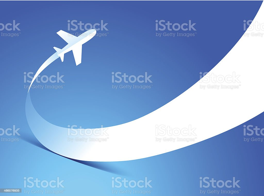 airplane flight takeoff blue background vector art illustration
