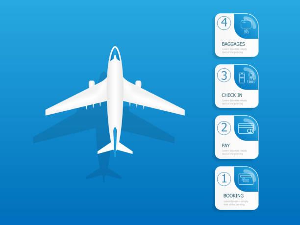 airplane flights information vertical timeline infographics vector art illustration