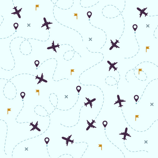Airplane flights pattern. Plane travel, avia traveling routes and aviation vector seamless background Airplane flights pattern. Plane travel, avia traveling routes and aviation or aircraft travel dotted map. Dot airplane flight sky traveler track vector seamless background airport patterns stock illustrations