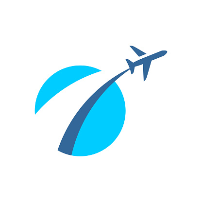 Airplane fly out logo. Plane taking off stylized sign.