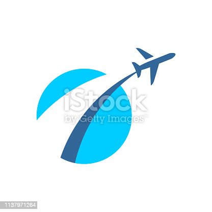 Airplane fly out logo. Plane taking off stylized sign. Vacation travel symbol. Flying airplane badge.