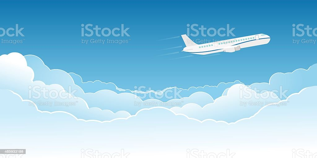 Airplane flying above the clouds vector art illustration