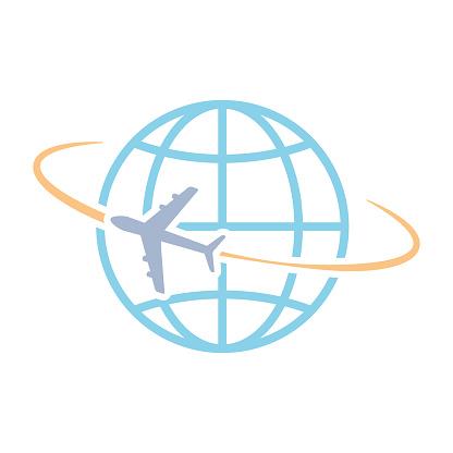 Airplane flying around world vector