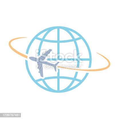 istock Airplane flying around world vector 1239767451