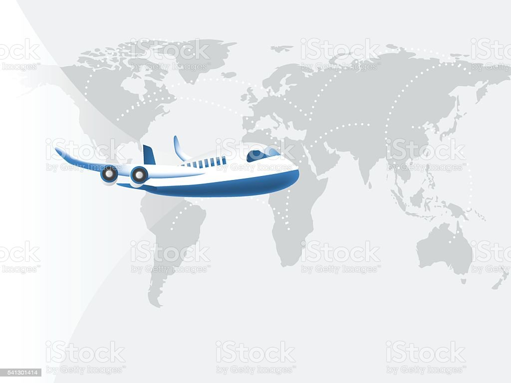 Airplane flying on world map background with connecting line stock airplane flying on world map background with connecting line royalty free airplane flying on world gumiabroncs Image collections
