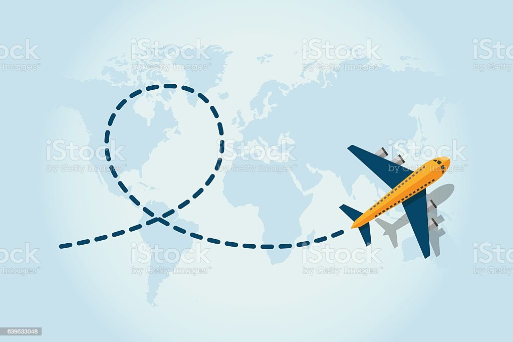 Airplane flying vector art illustration