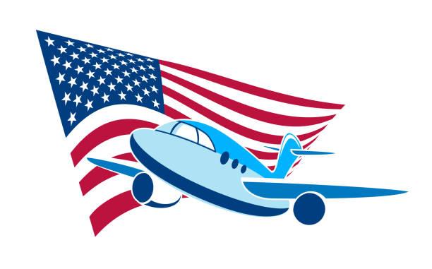 Flugzeug für die Reise vor dem Hintergrund der amerikanischen Flagge. – Vektorgrafik