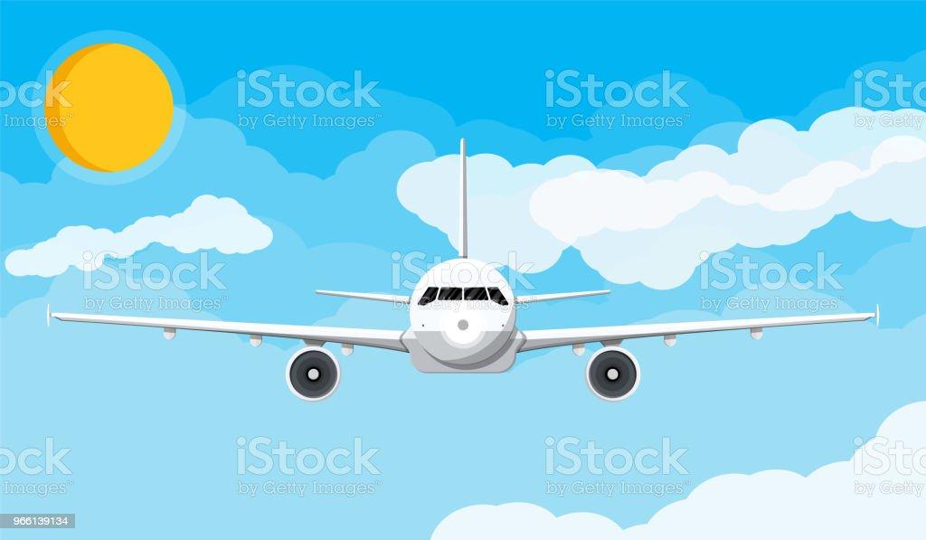 Vooraanzicht van het vliegtuig in de hemel met wolken en zon - Royalty-free Commercieel vliegtuig vectorkunst