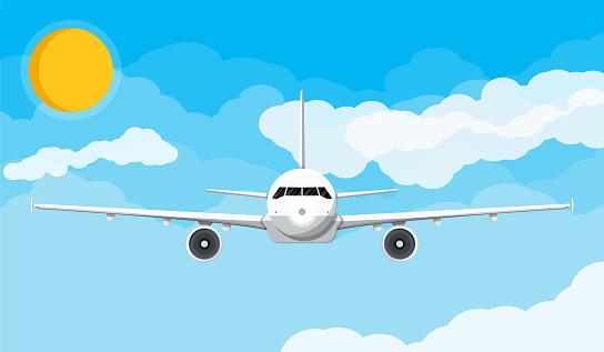 Vorderansicht Flugzeug In Den Himmel Mit Wolken Und Sonne Stock Vektor Art und mehr Bilder von Bullauge
