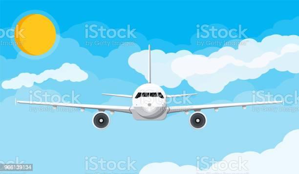 Vooraanzicht Van Het Vliegtuig In De Hemel Met Wolken En Zon Stockvectorkunst en meer beelden van Commercieel vliegtuig