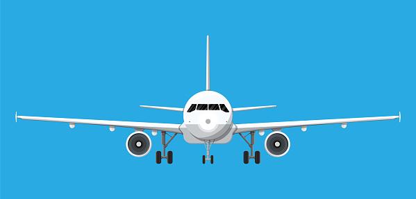 Flygplan Framifrån-vektorgrafik och fler bilder på Fart