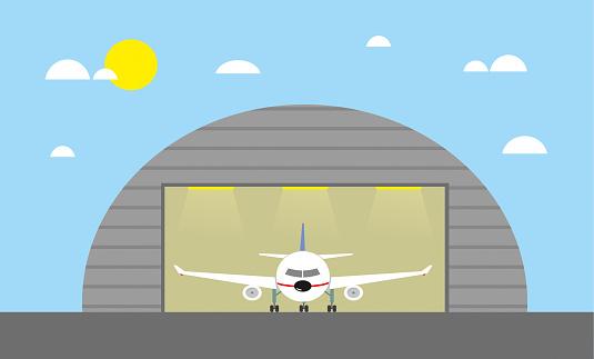 Airplane hangar stock illustration