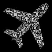 Airplane  Icon Business and Finance Vector Icon Pattern. The outline of the main object is created by the pattern of business and finance icons. This business and finance icon pattern is light grey in color. The icons vary in size and are rendered on a solid black background. The icons include such popular business and finance symbols as business people, business meetings and travel, profits and financial charts and many more. You can also use each icon separately from the main black background or as part of an icon set.