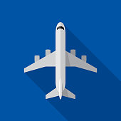 Vector illustration of an airplane against a blue background in flat style.