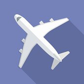 Airplane icon. Modern Flat style with a long shadow