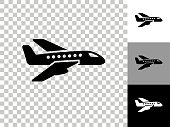 Airplane Icon on Checkerboard Transparent Background. This 100% royalty free vector illustration is featuring the icon on a checkerboard pattern transparent background. There are 3 additional color variations on the right..