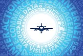 Airplane Icon on Internet Modern Technology Words Background