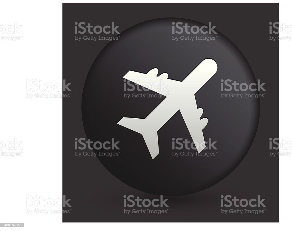 Airplane Icon on Round Black Button Collection royalty-free stock vector art