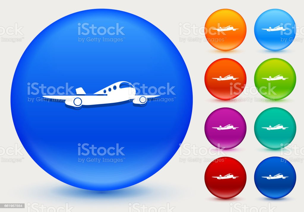 Airplane Icon on Shiny Color Circle Buttons royalty-free airplane icon on shiny color circle buttons stock vector art & more images of airplane