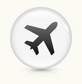 Airplane icon on white round vector button