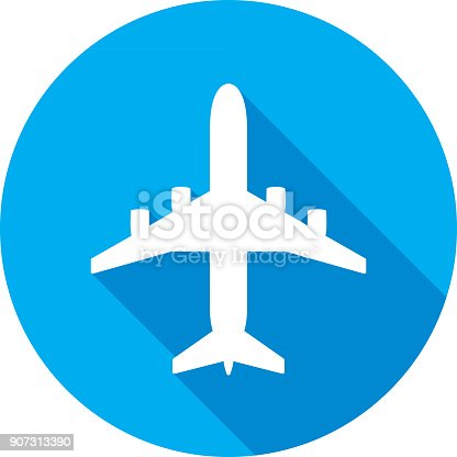 Vector illustration of a blue airplane icon in flat style.