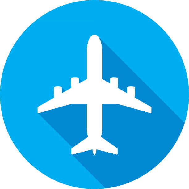 Airplane Icon Silhouette Vector illustration of a blue airplane icon in flat style. airport icons stock illustrations