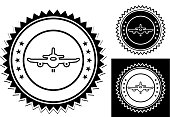 Airplane Icon. This 100% royalty free vector illustration is featuring a round seal with a small drop shadow and the main icon is depicted in black. Two smaller variations are on the right.