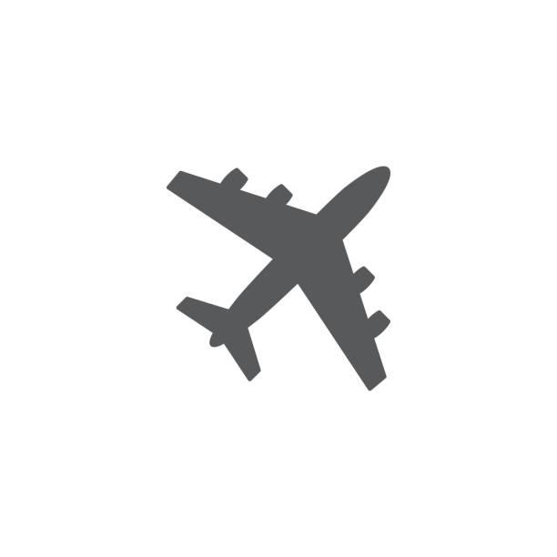 ilustraciones, imágenes clip art, dibujos animados e iconos de stock de vector de icono de avión sobre fondo blanco - avión
