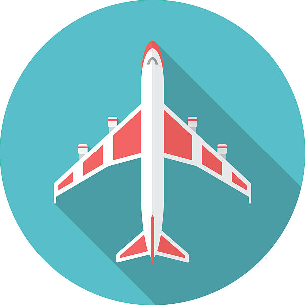 Airplane icon with long shadow. Airplane icon with long shadow. Flat design style. Round icon. Airplane silhouette. Simple circle icon. Modern flat icon in stylish colors. Web site page and mobile app design vector element. aviation and environment summit stock illustrations