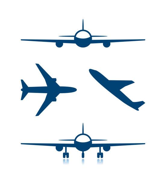 ilustraciones, imágenes clip art, dibujos animados e iconos de stock de los iconos de avión y el avión con chasis - avión