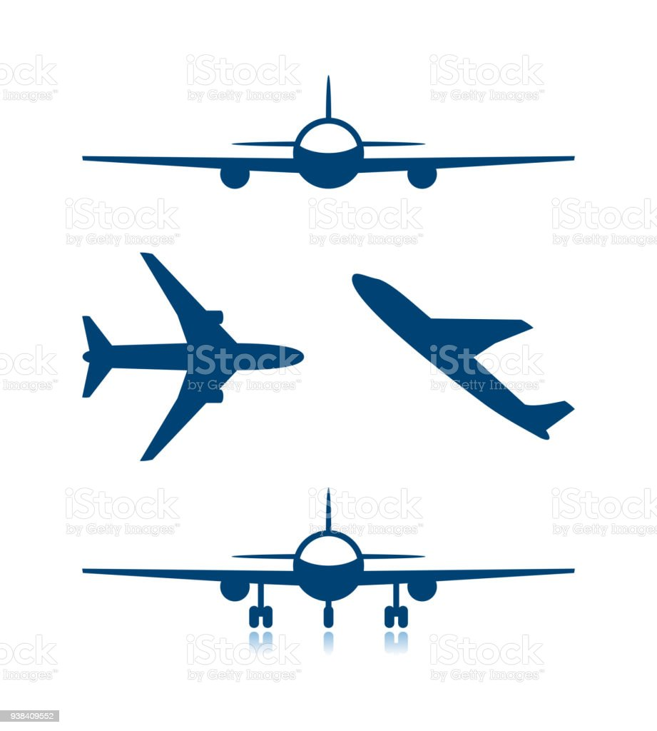 Airplane icons and plane with chassis vector art illustration