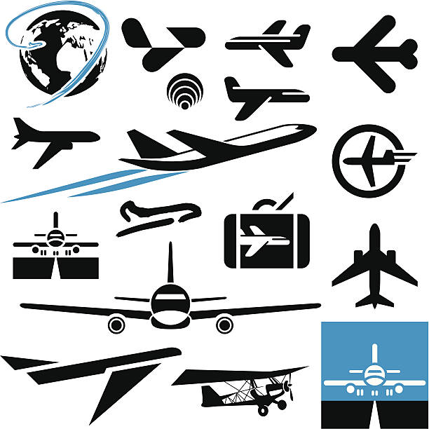 Airplane icons. Plane. Airplane icons. Airport symbols. Plane. airport silhouettes stock illustrations