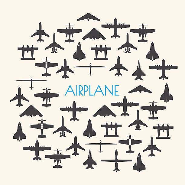 airplane icons set and Background airplane icons set and Background private airplane stock illustrations