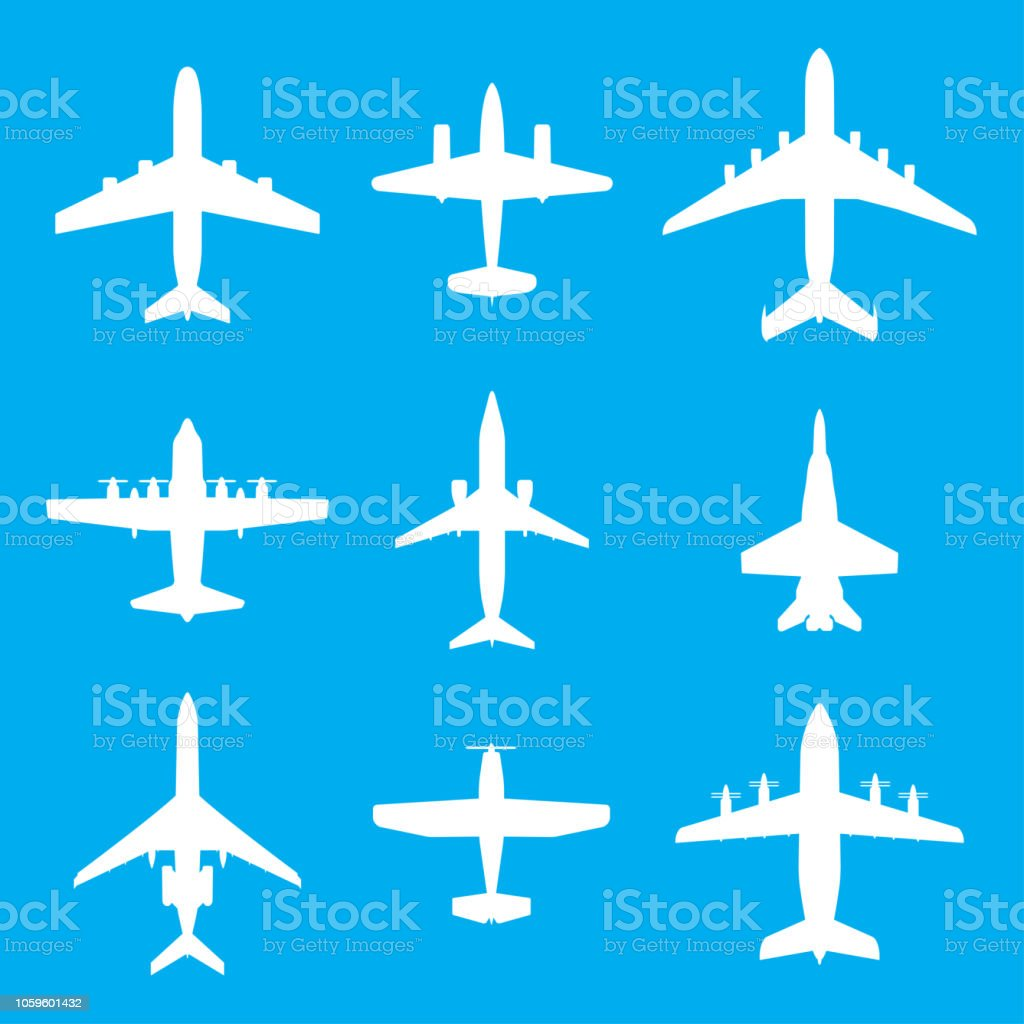 Los iconos de avión conjunto aislado sobre fondo azul. Siluetas vector blanco de aviones de pasajeros, avión de combate y tornillo. - ilustración de arte vectorial